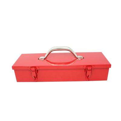 13-1/2 in. Red Metal Tool Box with Chrome Catch
