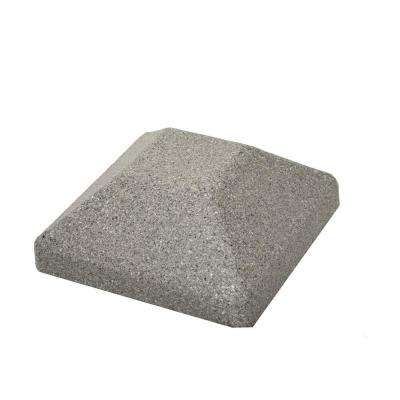 5 in. x 5 in. EcoStone Gray Composite Square Fence Post Cap