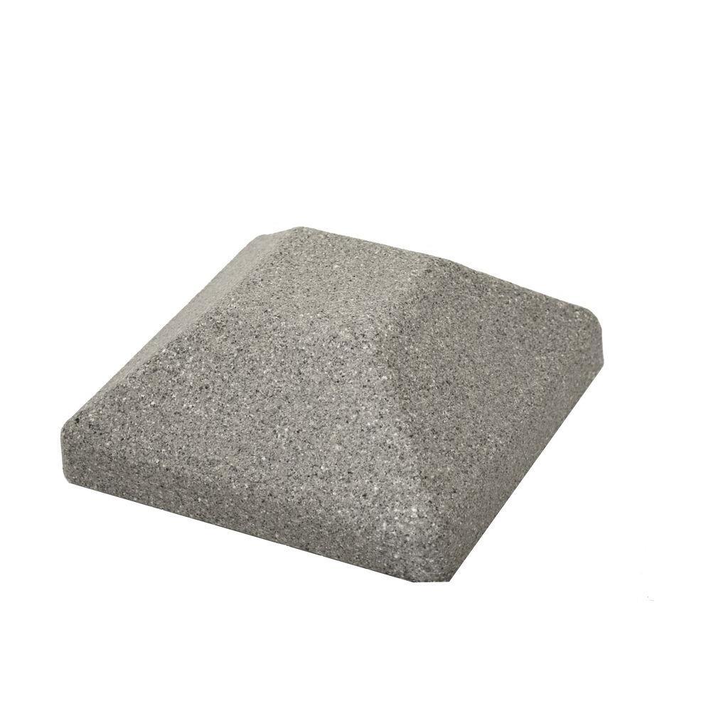 5 in. x 5 in. EcoStone Gray Composite Square Fence Post Cap