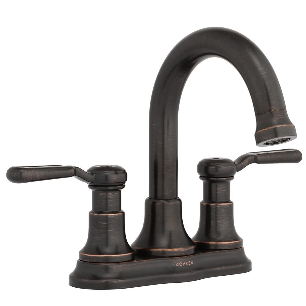 KOHLER Worth 4 in. Centerset 2-Handle Bathroom Faucet in Vibrant ...