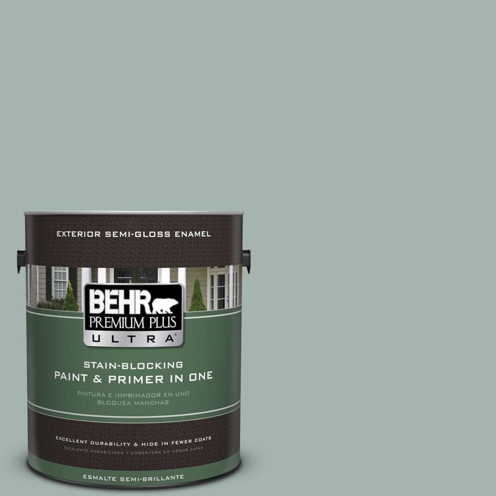 BEHR Premium Plus Ultra 1-gal. #PPU12-9 Frozen Pond Semi-Gloss Enamel Exterior Paint