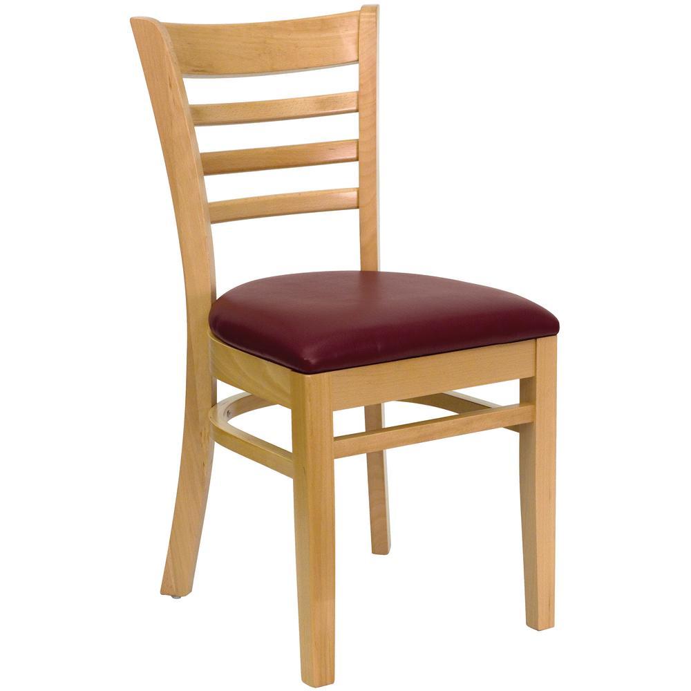 Gentil Flash Furniture Hercules Series Natural Wood Ladder Back Wooden Restaurant  Chair With Burgundy Vinyl Seat