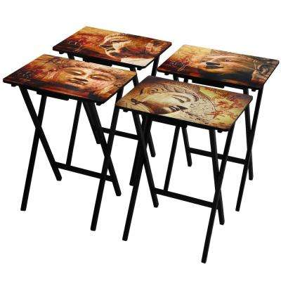 Oriental Furniture 19 in. x 13.75 in. Buddha's TV Tray in Black (4-Pack)