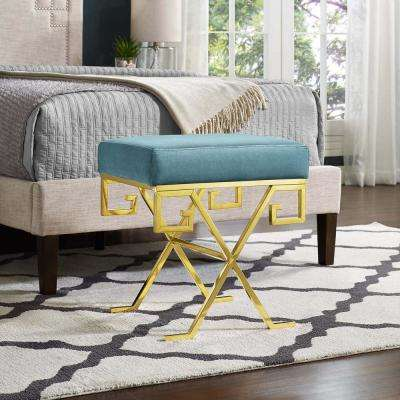 Twist Gold Sea Velvet Bench