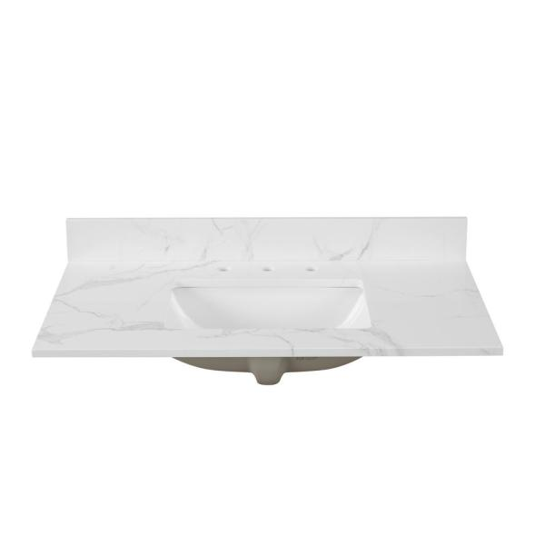 43 in. W x 22 in. D x 0.75 in. H Engineered Marble Vanity Top in Calacatta White with White Basin