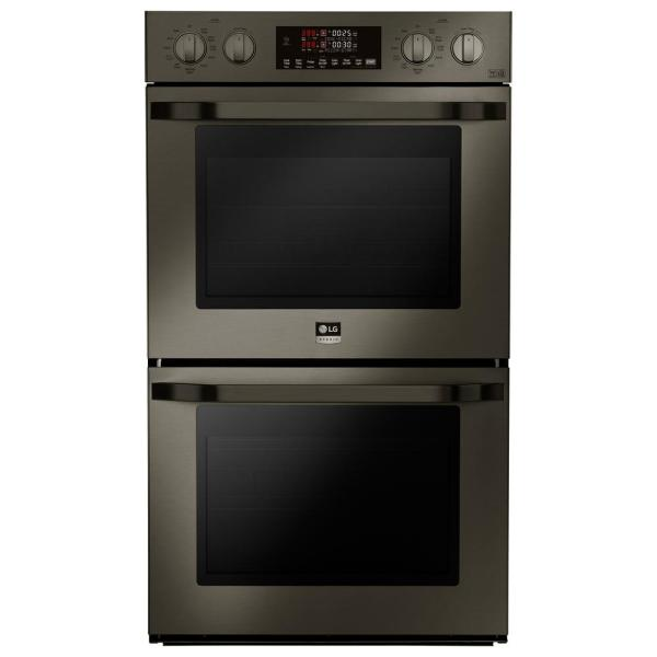 LG STUDIO 30 in. Double Electric Wall Oven with Self Cleaning in Black Stainless Steel