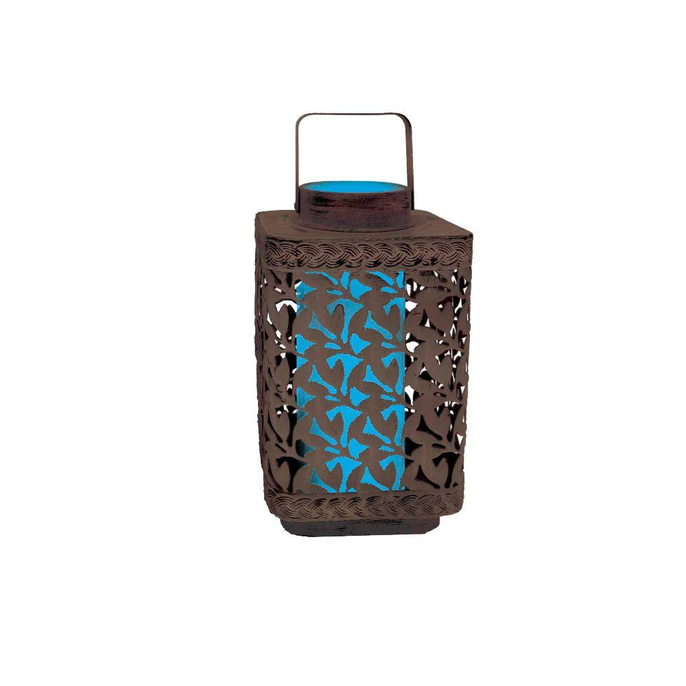 null 10 in. Solar Lear Cluster Lantern with Blue Light