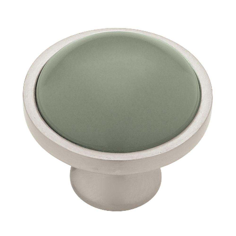 Artisan Ceramic 1-3/8 in. (35mm) Sage with Satin Nickel Round Cabinet Knob