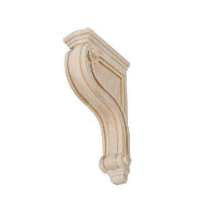 8 in. x 2 in. x 4-3/4 in. Unfinished Small North American Solid Hard Maple Classic Traditional Plain Wood Corbel