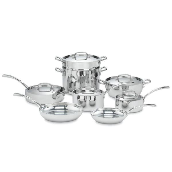 French Classic 13-Piece Stainless Steel Cookware Set in Silver and Stainless Steel