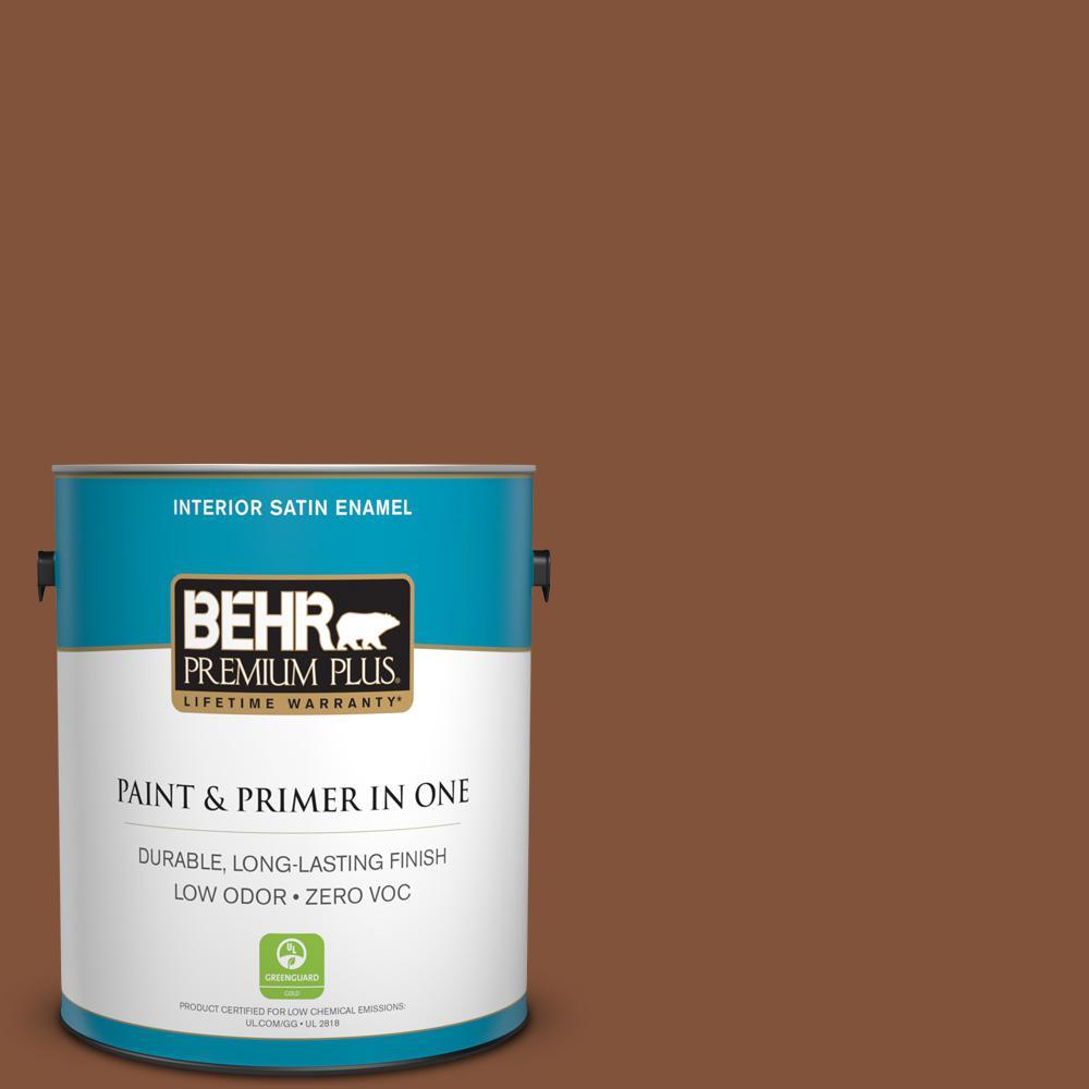 1-gal. #230F-7 Florence Brown Zero VOC Satin Enamel Interior Paint