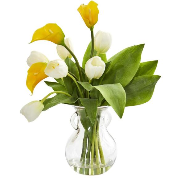 Nearly Natural Indoor Calla Lily Tulips Artificial Arrangement
