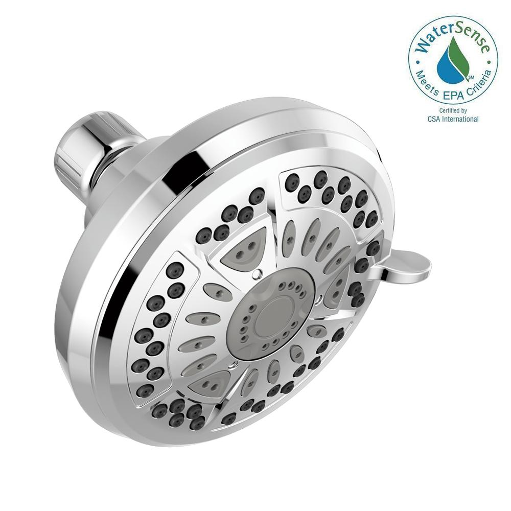 Delta 6-Spray 4.38 in. Fixed Shower Head in Brushed Nickel-75641SN ...