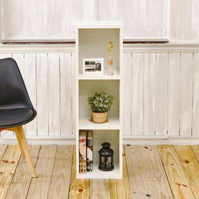 Trois 3-Shelf Narrow zBoard 11.2 x 13.4 x 44.8 Tool-Free Assembly Bookcase Storage Shelf in Pearl White