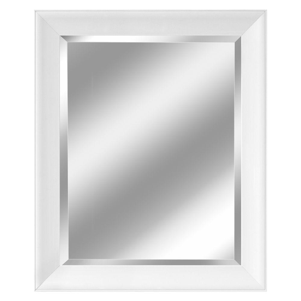 Deco Mirror 29 in. x 35 in. Contemporary Mirror in White