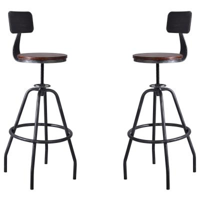 Getty Adjustable Silver Brushed Gray Barstool (Set of 2)