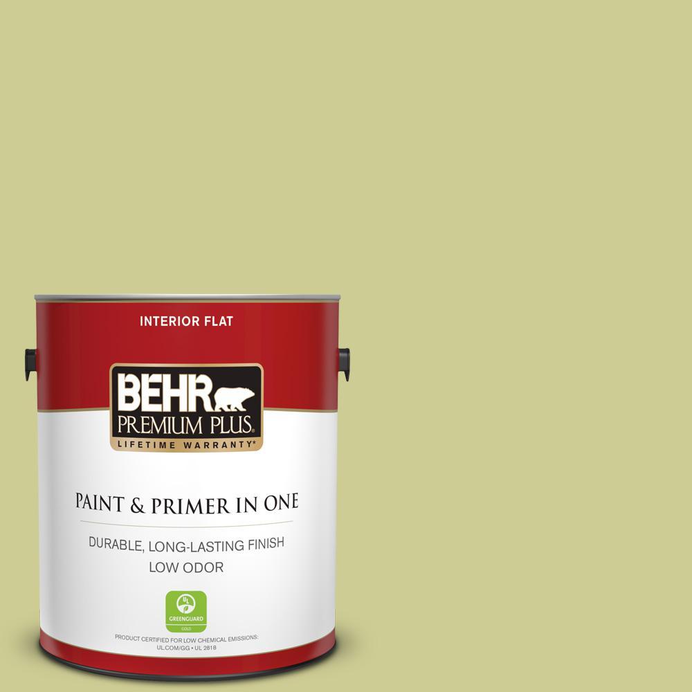 Behr Premium Plus 1 Gal 400d 4 Corn Husk Green Flat Low Odor