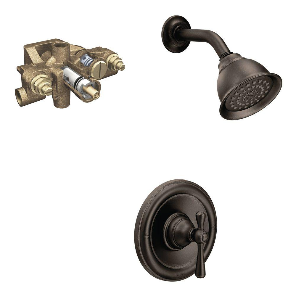 Moen Kingsley Single Handle 1 Spray Shower Faucet Trim Kit With Valve In Oil Rubbed Bronze