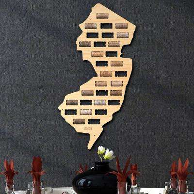 12.5 in. x 23.5 in. New Jersey Wine Cork Map