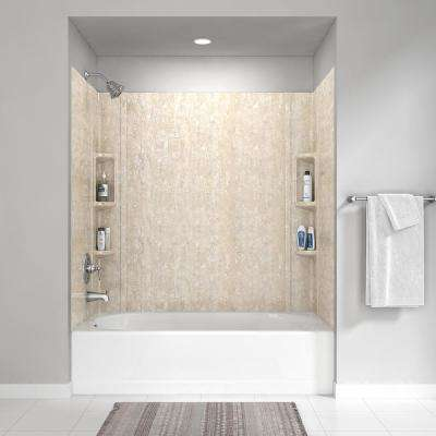 Colony 32 in. x 60 in. 5-Piece Glue-Up Alcove Wall Bath Set in Sand Travertine
