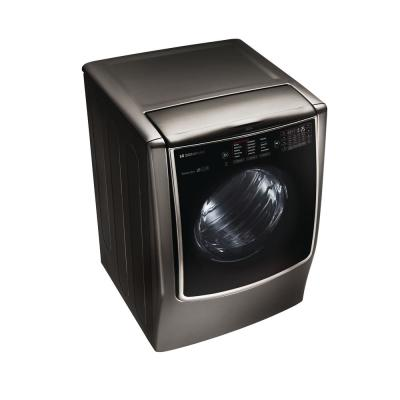9.0 cu ft Mega Capacity Smart Front Control Electric Dryer w/ TurboSteam & Pedestal Compatible in Black Stainless Steel