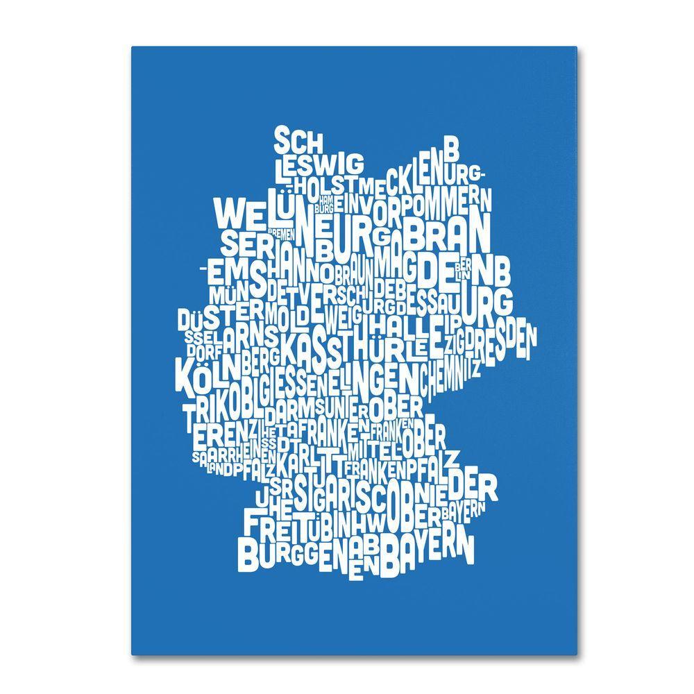Trademark Fine Art 30 in. x 47 in. Germany Regions Map - Summer Canvas Art