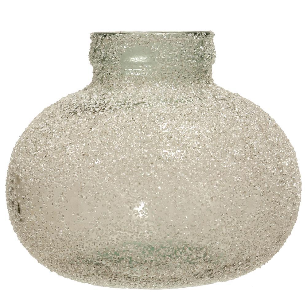 Translucent Clear Crackle Glass Round Vase
