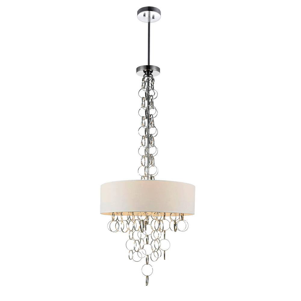 Chained 4 Light Chrome Chandelier With White Shade