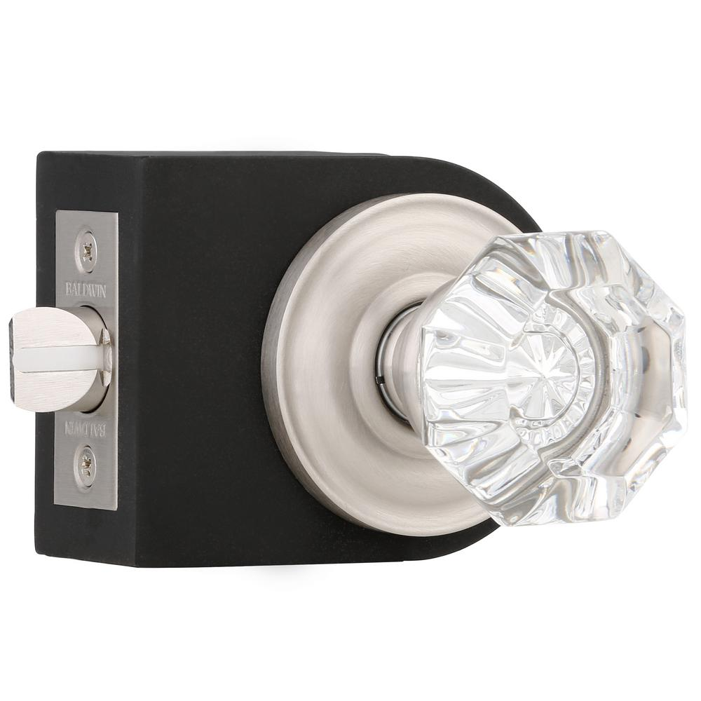 Baldwin Filmore Satin Nickel Bed/Bath Crystal Knob 5080.150.PRIV   The Home  Depot
