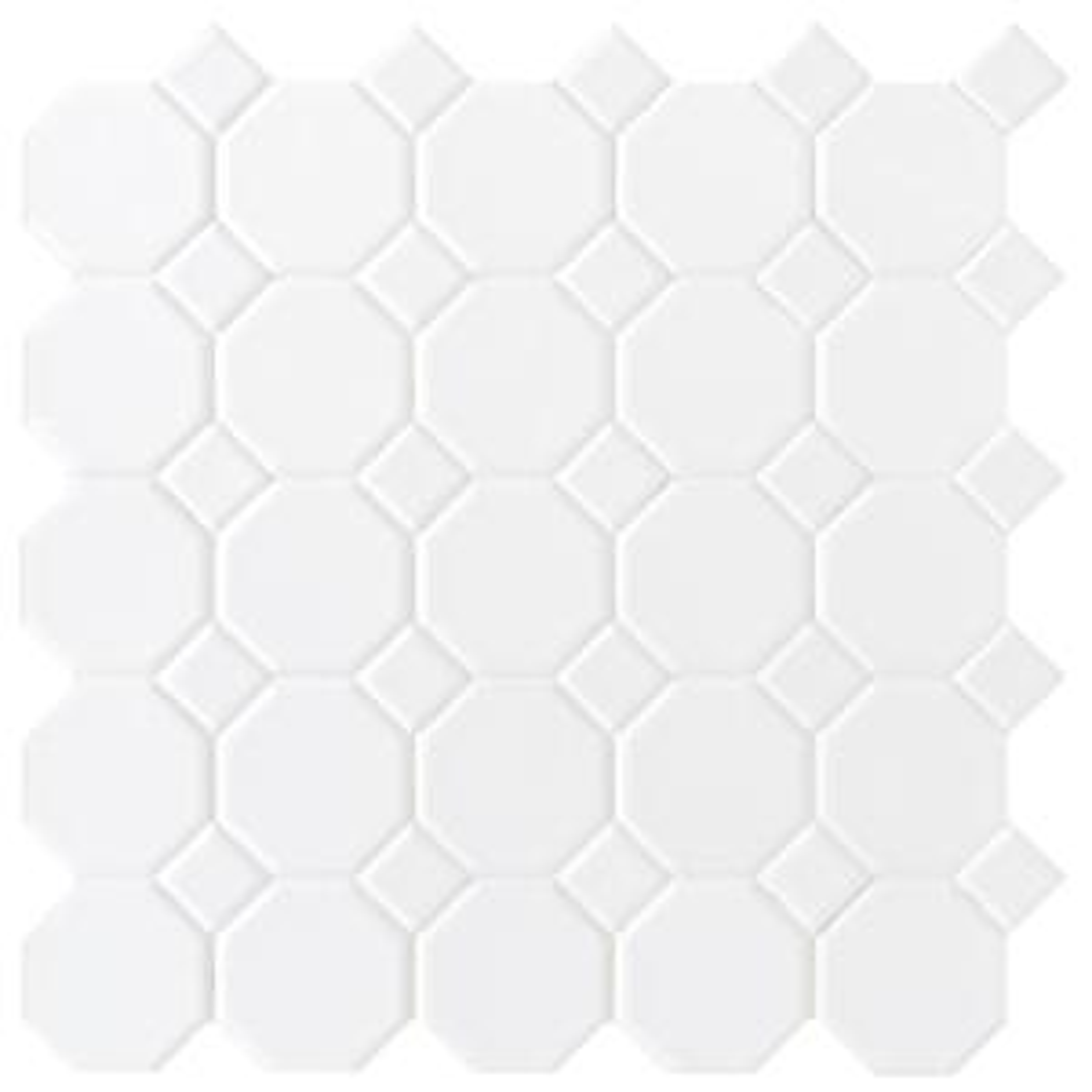 Merola Tile Metro Octagon Matte White With Burgundy Dot In X - Daltile smyrna ga