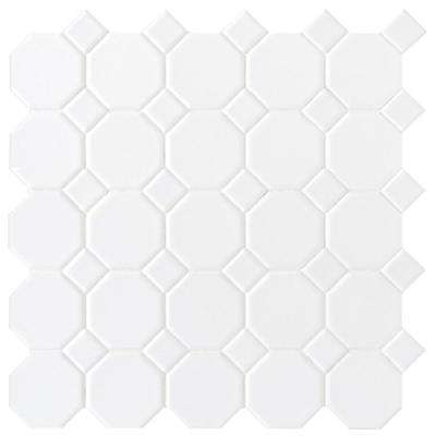 Matte White 12 in. x 12 in. x 6 mm Ceramic Octagon Dot Mosaic Tile (10 sq. ft. / case)