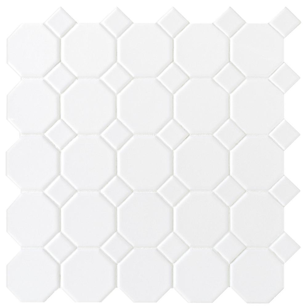 Matte White Octagon Dot 12 in. x 12 in. x 6mm Ceramic Mosaic Tile
