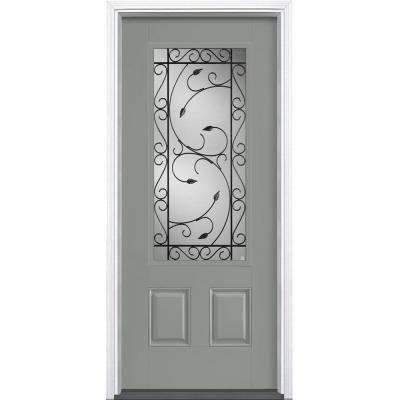 36 in. x 80 in. Pergola Silver Cloud 3/4 Lite Right-Hand Painted Smooth Fiberglass Prehung Front Door with Brickmold