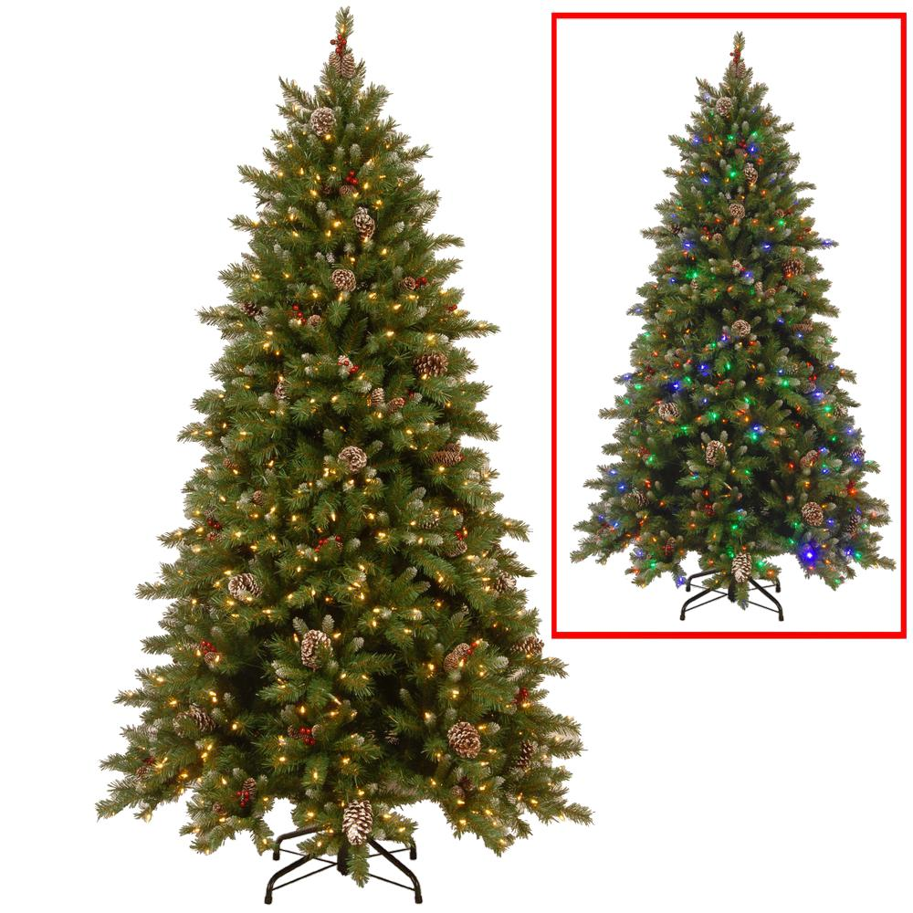 Nice Pre Lit Christmas Trees Multi Color Led Lights Part - 3: National Tree Company. 7.5 Ft. PowerConnect Snowy Berry Artificial Christmas  Tree With Dual Color LED Lights