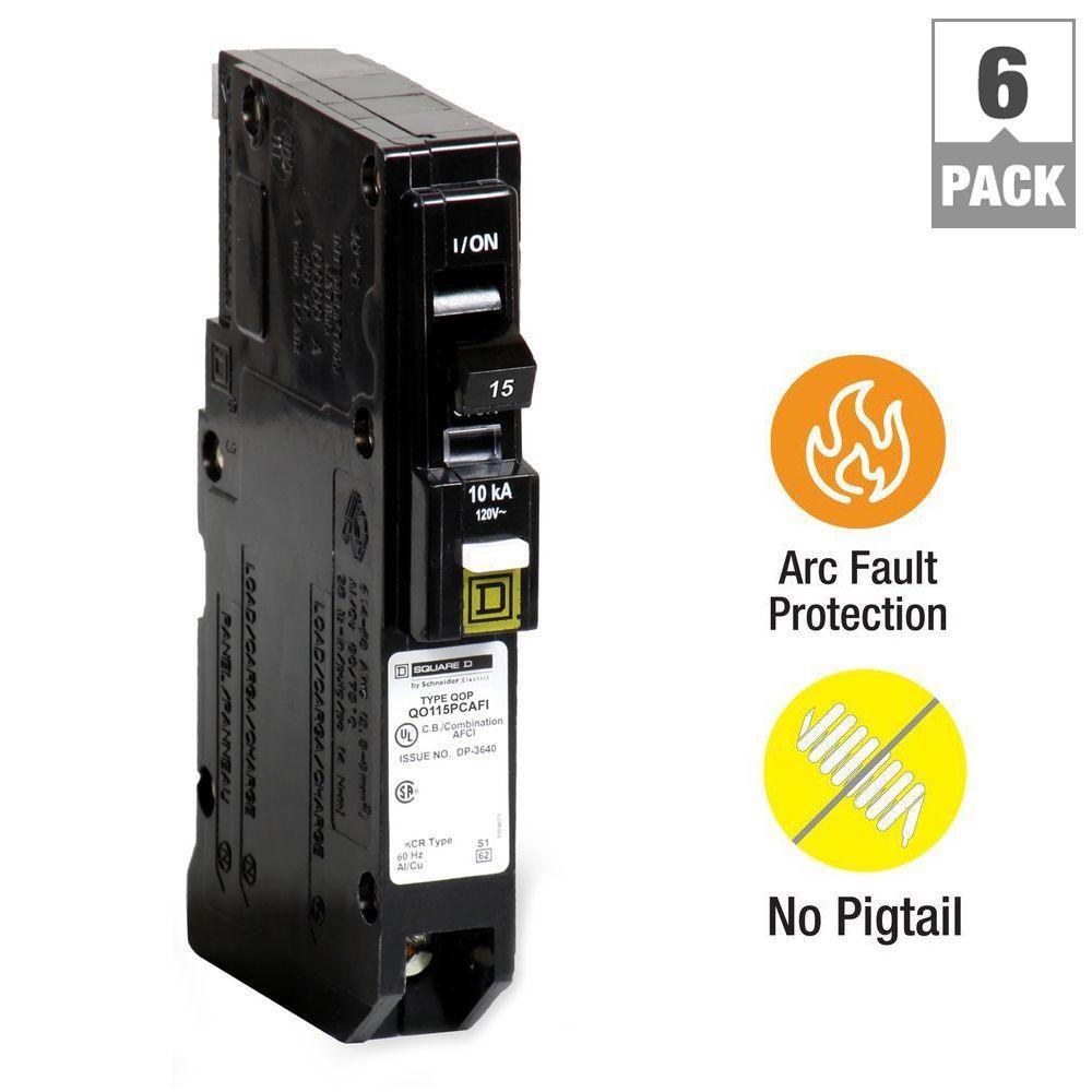 QO 15 Amp Single-Pole Plug-On Neutral Combination Arc Fault Circuit Breaker (6-Pack)