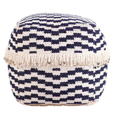 Bazely Blue and White Woven Pouf