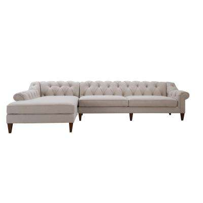 Alexandra Bone White Tufted Left Sectional Sofa