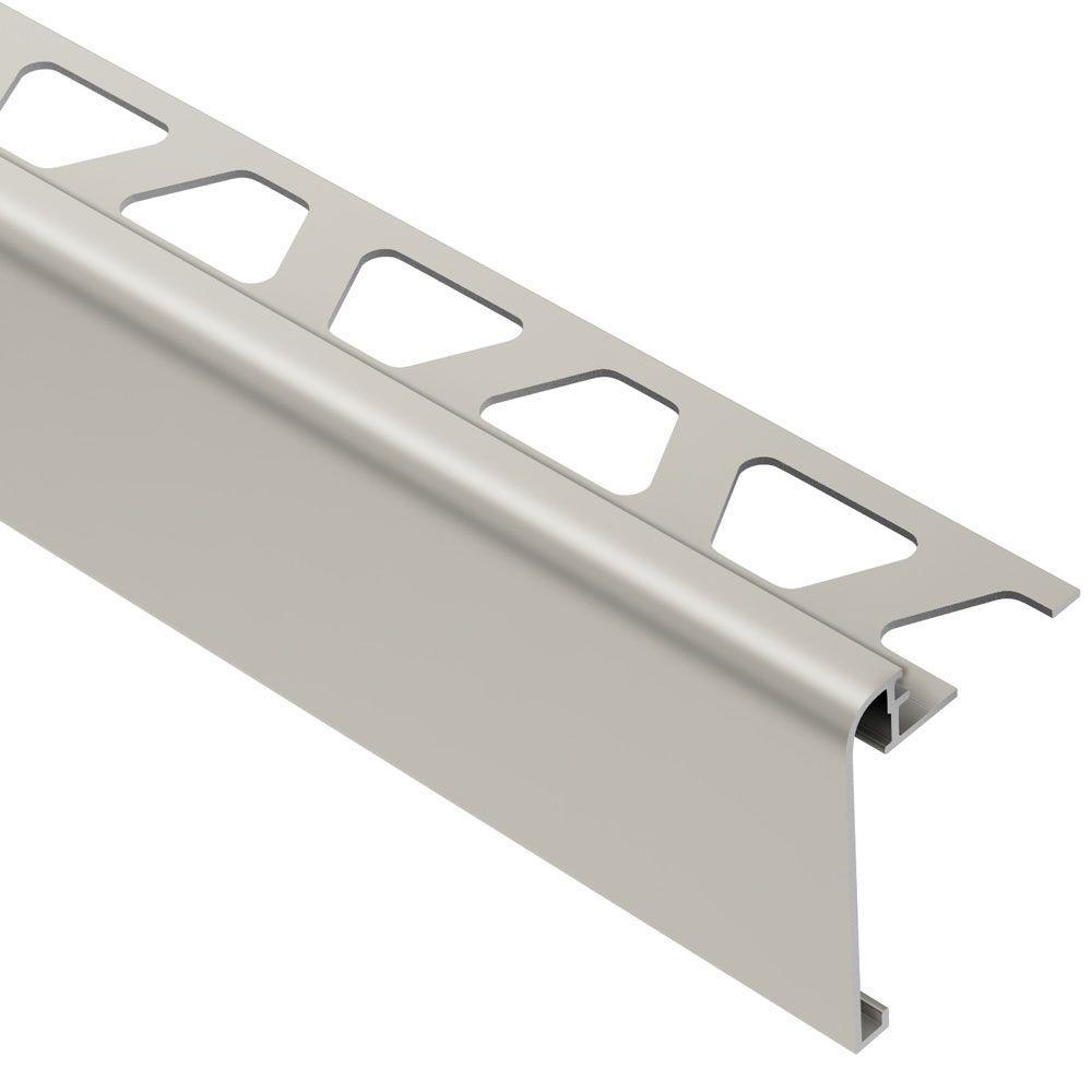Rondec-Step Satin Nickel Anodized Aluminum 3/8 in. x 8 ft. 2-1/2 in. Metal Tile Edging Trim