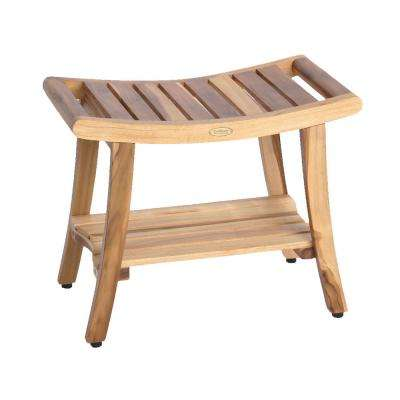 Earthyteak Harmony 24 In Teak Shower Bench With Shelf And Liftaide Arms