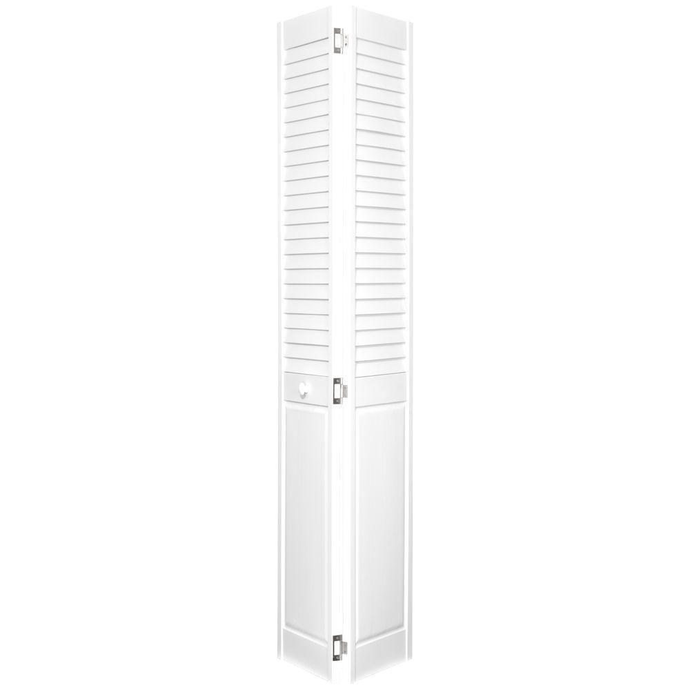 Home Fashion Technologies 2 in. Louver/Panel Behr Decorator White Solid Wood Interior Bifold Closet Door-DISCONTINUED