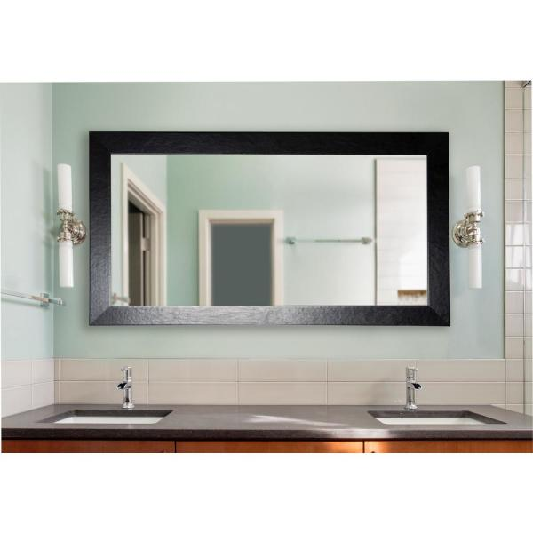 undefined 70.5 in. x 35.5 in. Black Wide Leather Double Vanity Wall Mirror