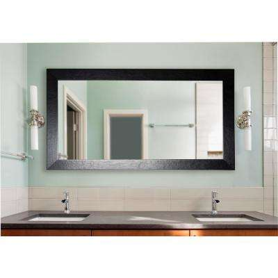 72.5 in. x 39.5 in. Black Wide Leather Double Vanity Wall Mirror