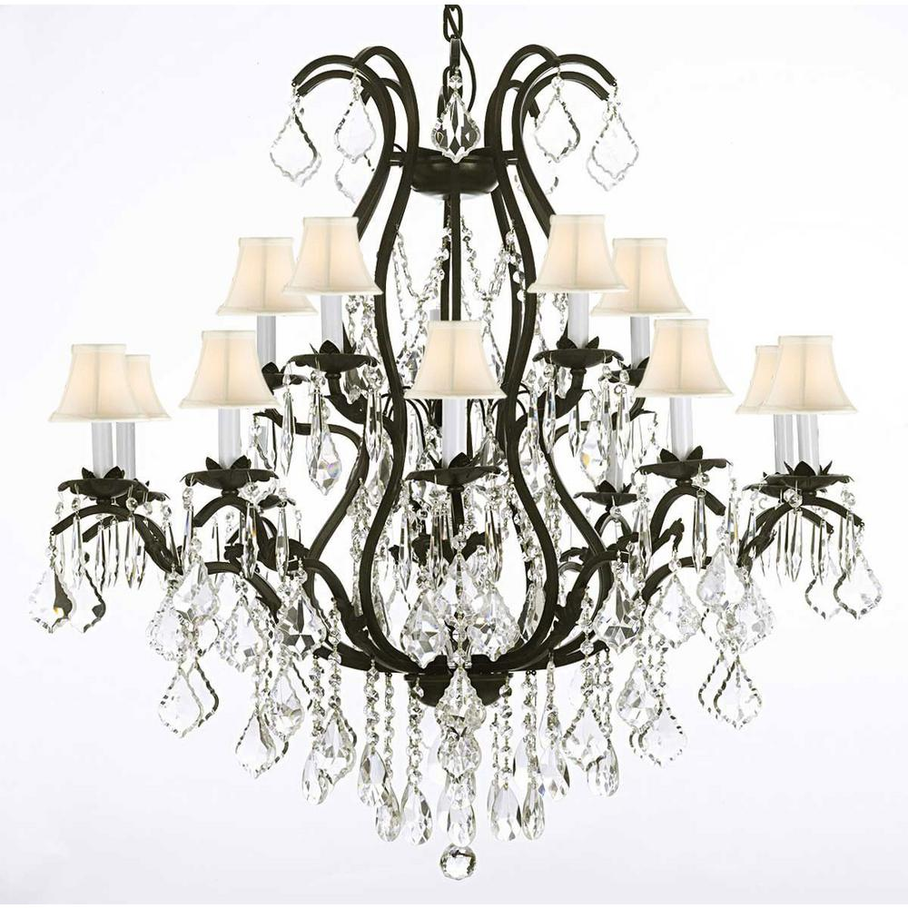 Versailles 15-Light Black Wrought Iron and Crystal Chandelier with White Shades