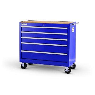 Workshop Series 42 in. 5-Drawer Cabinet with Wood Top, Blue