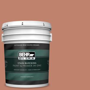 Behr Ultra 5 Gal Qe 03 Clay Ground Semi Gloss Enamel Exterior Paint And Primer In One 585405 The Home Depot