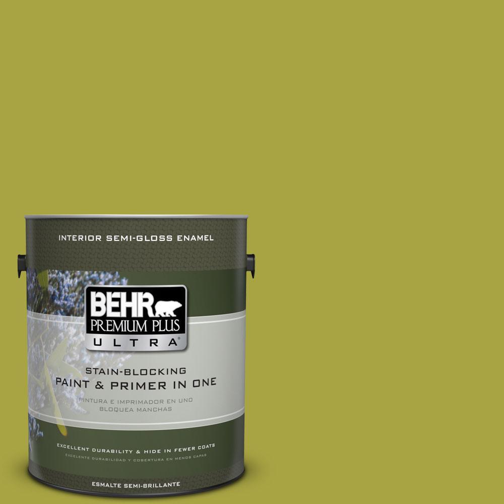 1-gal. #400B-7 Lemon Grass Semi-Gloss Enamel Interior Paint