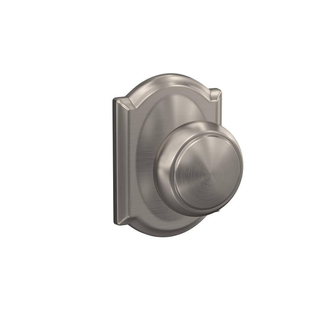 Custom Andover Satin Nickel Camelot Trim Dummy  Door Knob (2-pack)