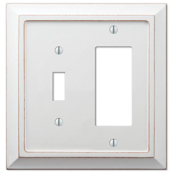 Savannah 2 Gang 1-Toggle and 1-Rocker Wood Wall Plate - White