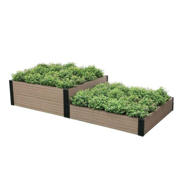6 ft. W x 3 ft. D x 14 in. H and 7 in. H Premium Terraced Garden Bed
