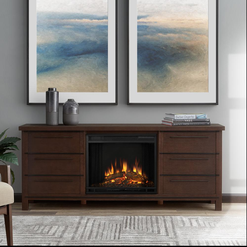 Parsons 67 in. Freestanding Electric Fireplace TV Stand in Chestnut Oak